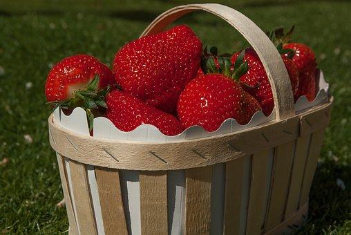 Basket Strawberries Strawberry Fruit Straw