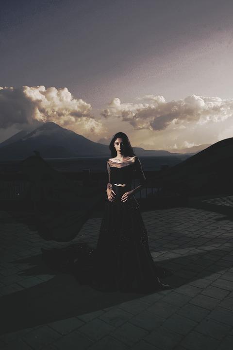 Geweldig, Meisje, Panajachel, Wolken, Jurk, Vulkanen