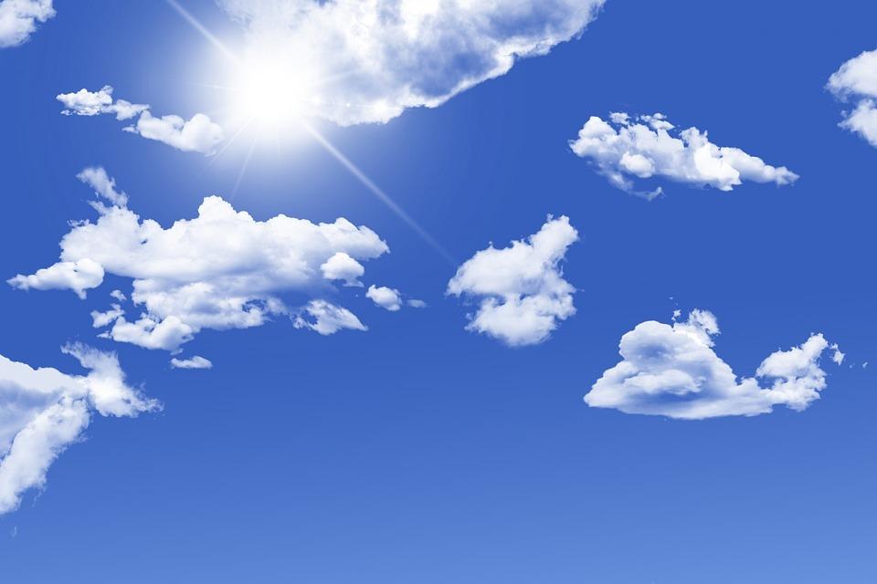 Фон для открытки голубое небо, открытка днем