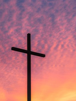 Cross, Sky, Clouds, Sunset, Dusk