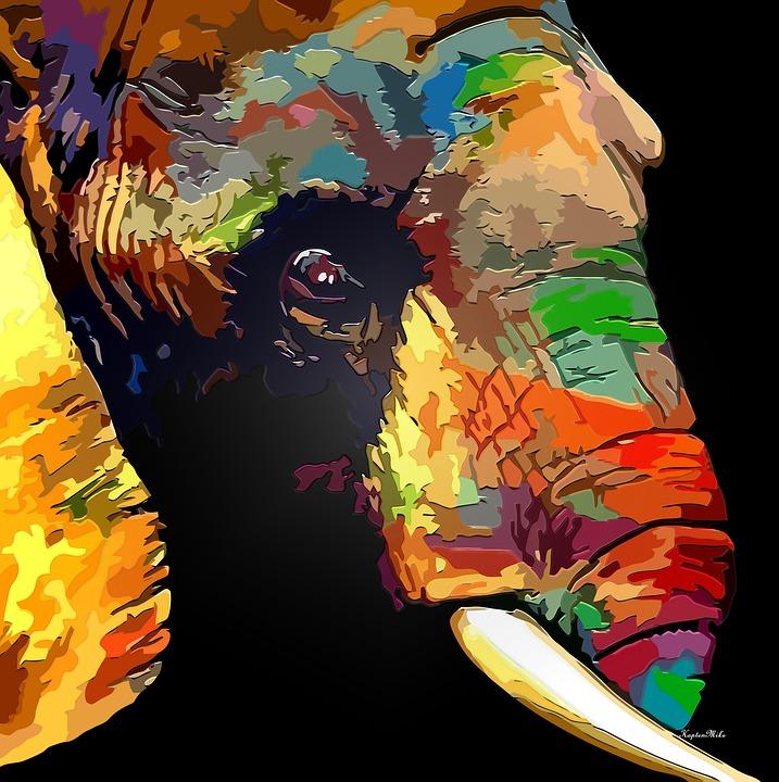 Illustration Gratuite: Éléphant, Résumé, Dynamique - Image