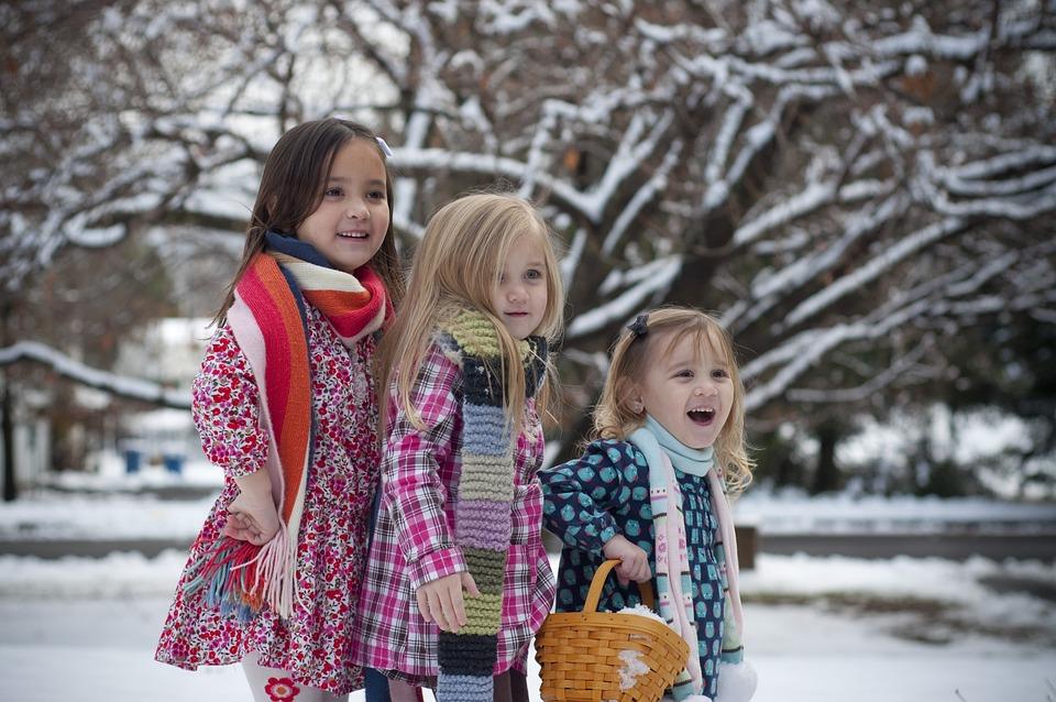 Testvérek, Winter, Snow, Fák, Holiday, Karácsony