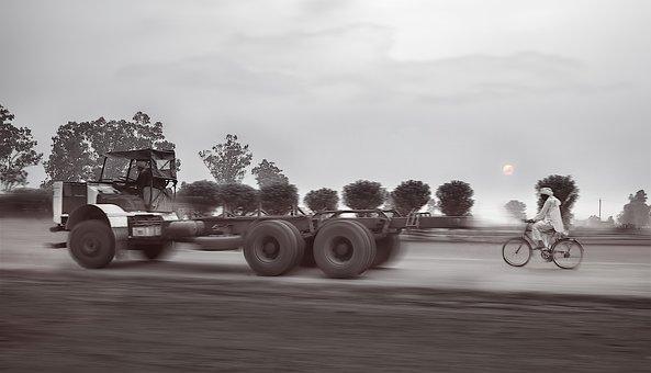 トラック, 自転車, レース, 商用車, 車両, トラフィック, 交通機関