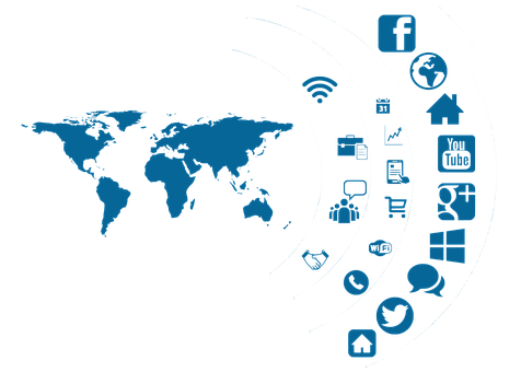 Social Media, Icona, Continenti, Globo
