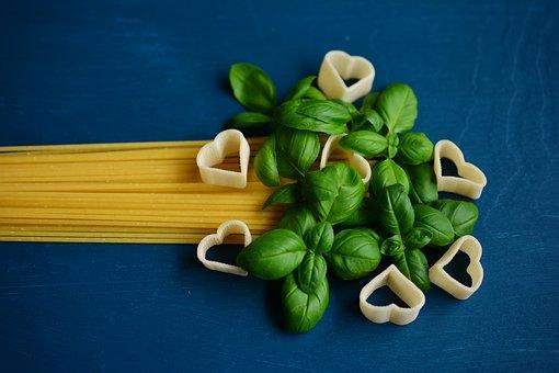 Spaghetti, Noodles, Pasta, Basil