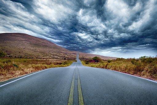 どこへの道, 風景, 旅行, 高速道路, 不気味な, 荒野