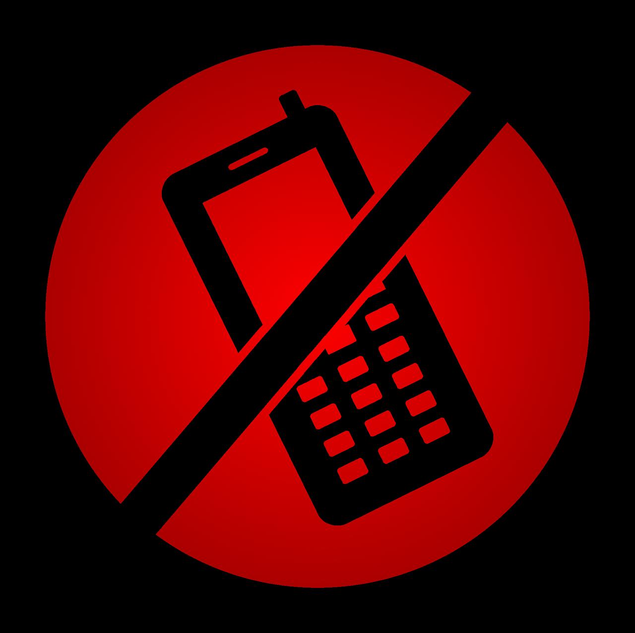 Днем, картинка мобильник под запретом