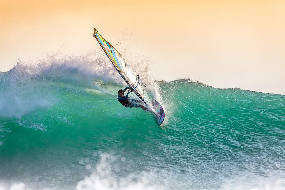 First step to achieving your adventure is trying.   Windsurfing, Big Waves, At Dusk, Backlight, Spray