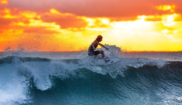 Surfer, Wave, Sunset, Ocean, Java Island