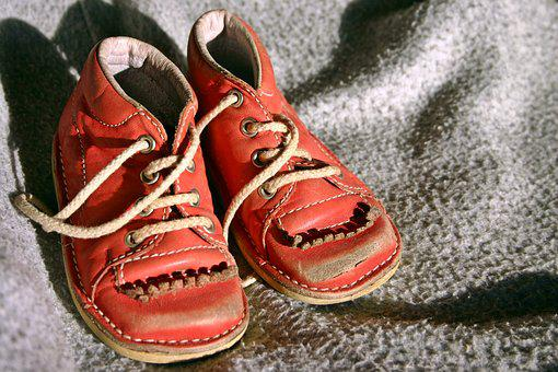 Children'S Shoe, Child'S Shoe, Red, Old