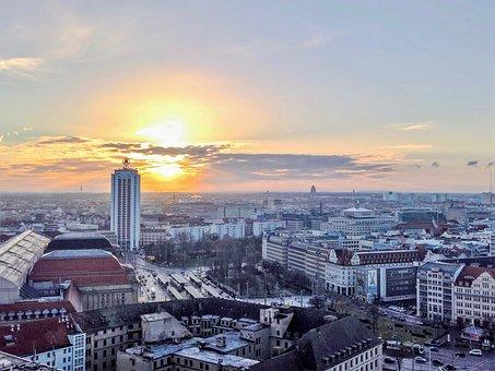 Лейпциг, Город, Германия, Восход Солнца