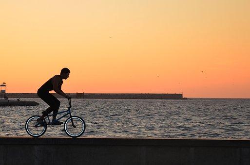 サイクリスト, スポーツ, 自転車, 海, 注文, クリミア半島, サイクリング