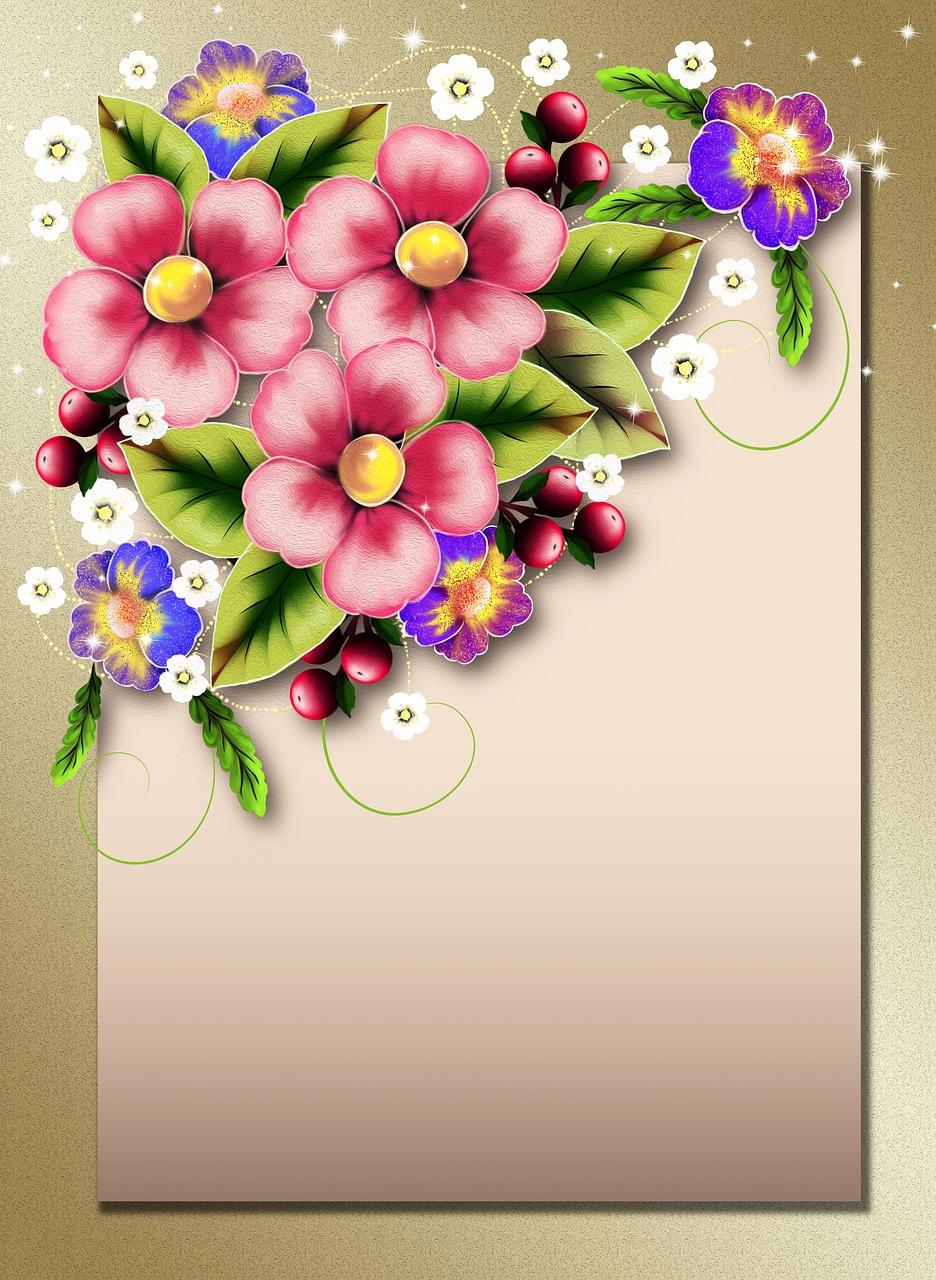 Открытки рисовать цветы