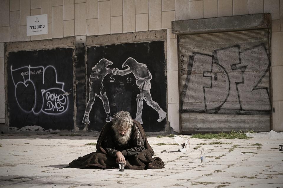 ホームレス, 通り, アート, 現実, 人, 貧困, うつ病, 悲しみ, ヘルプ, だけで, 悲しい