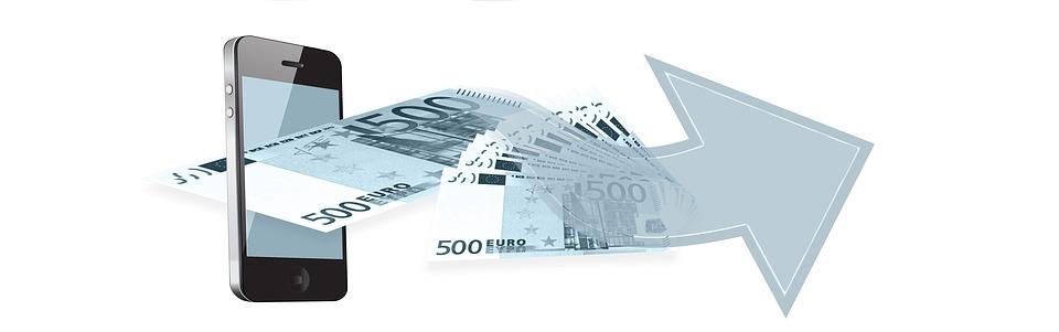携帯電話, ユーロ, お金, 金融, オンラインバンキング, 銀行業務, お支払い, 支払い, 送信, 受信