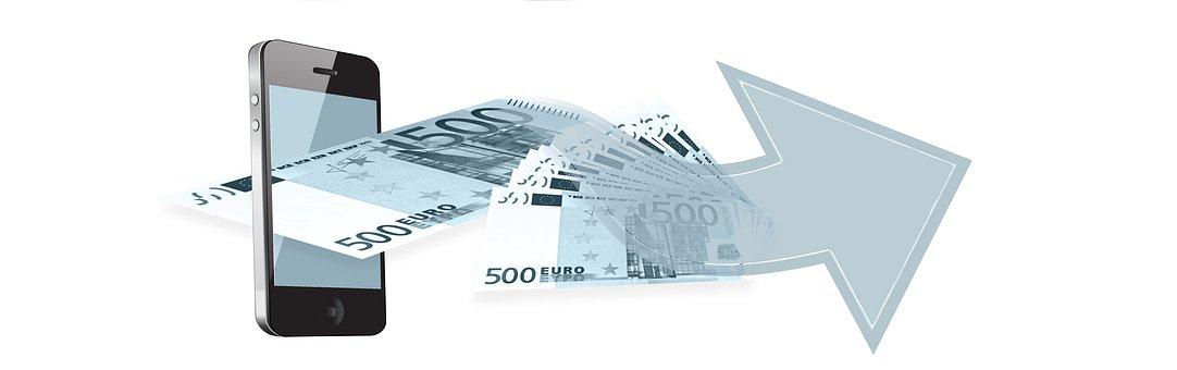 携帯電話, ユーロ, お金, 金融, オンラインバンキング, 銀行業務
