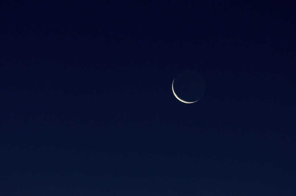 Crescent Moon, Moon, Moonlit Night
