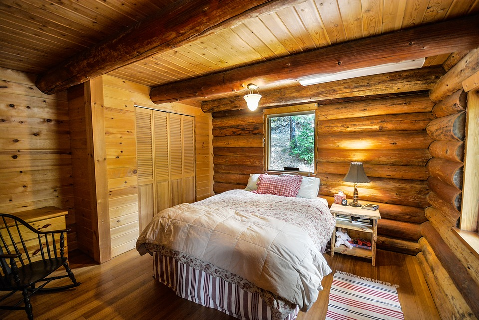 Log Home, Log, Home, Bedroom, Rustic, Country, Pioneer