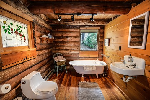 Log Home, Log, Home, Bathroom, Rustic