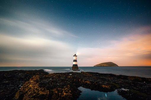Lighthouse, Remote, Sky, Sunset, Rocks