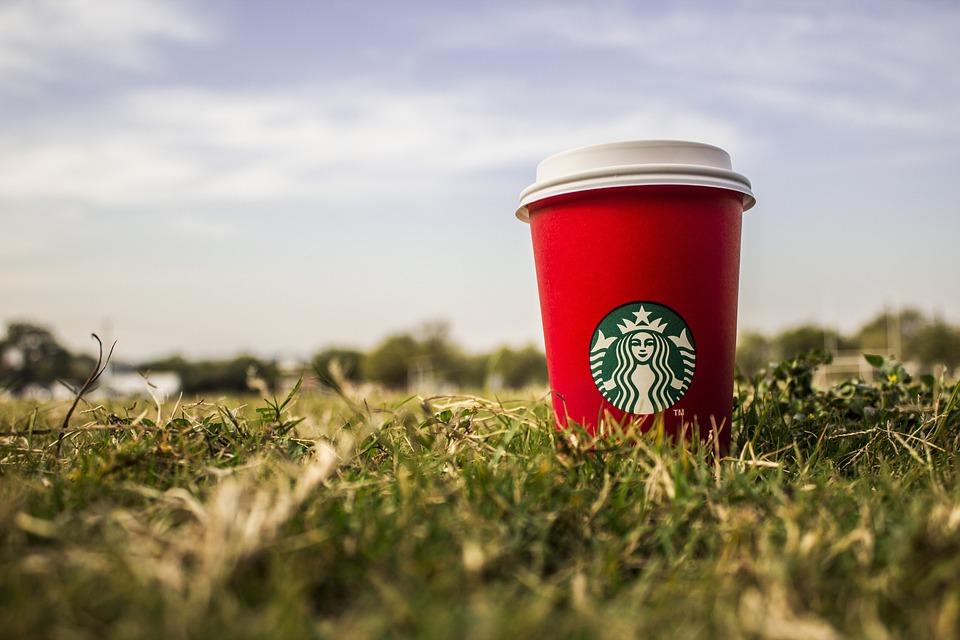 スターバックス, クリスマス, 芝生, コーヒー, 赤, 空