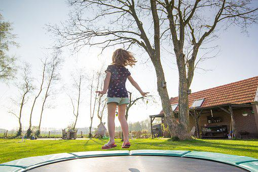 Trampoline, Girl, Play, Jump, Fun
