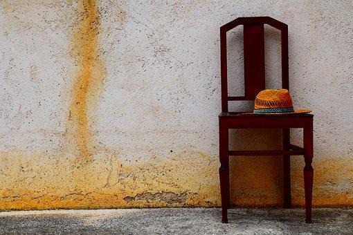 椅子, 帽子, 夏, 南, 地中海, 単に, アーム, 貧しい美術, アート