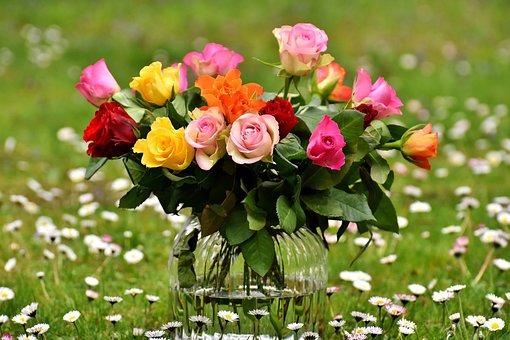 Róż, Bukiet, Kwiaty, Wazon, Kolorowy