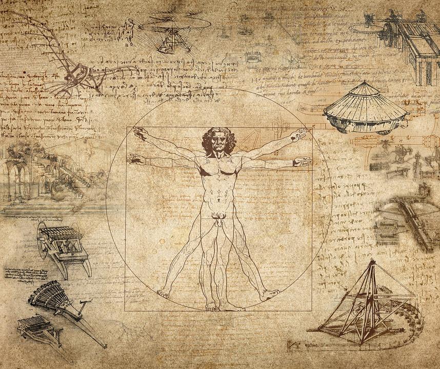 Collage, Leonardo Da Vinci, Витрувианский Personas