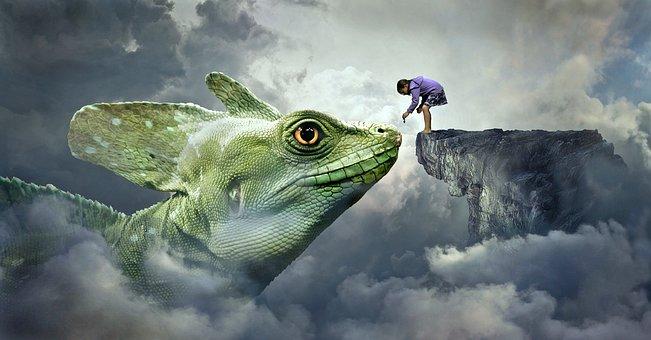 Fantasy, Dragon, Lizard, Feed, Child