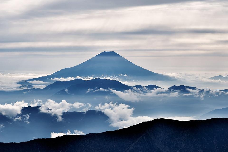 富士山, 火山, シルエット, クラウド, 風景, 日本