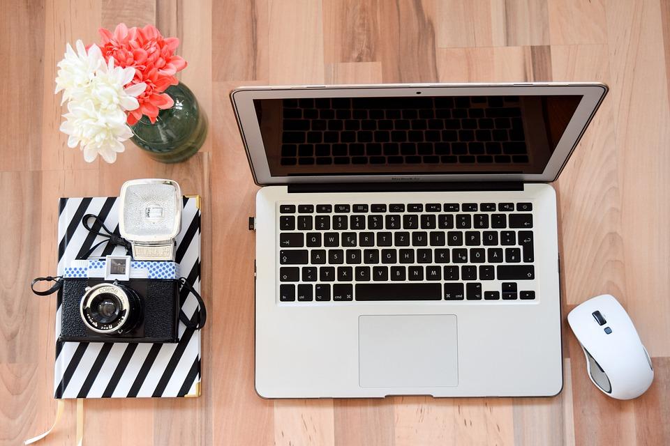 ノート パソコン, マウス, ワークプ レース, ホーム オフィス, アップル, キー, Mac