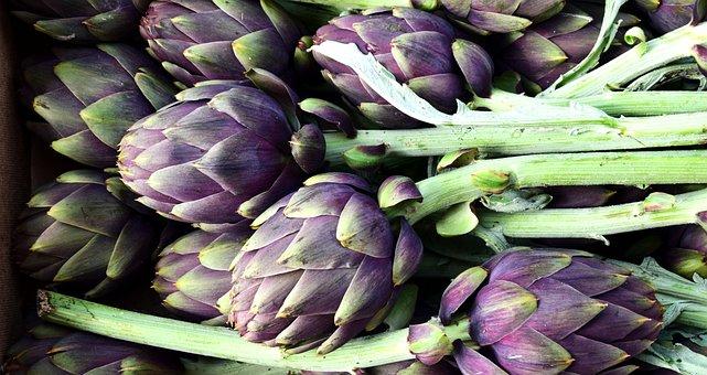 アーティチョーク, 野菜, 食品, 市場, 緑, バイオレット