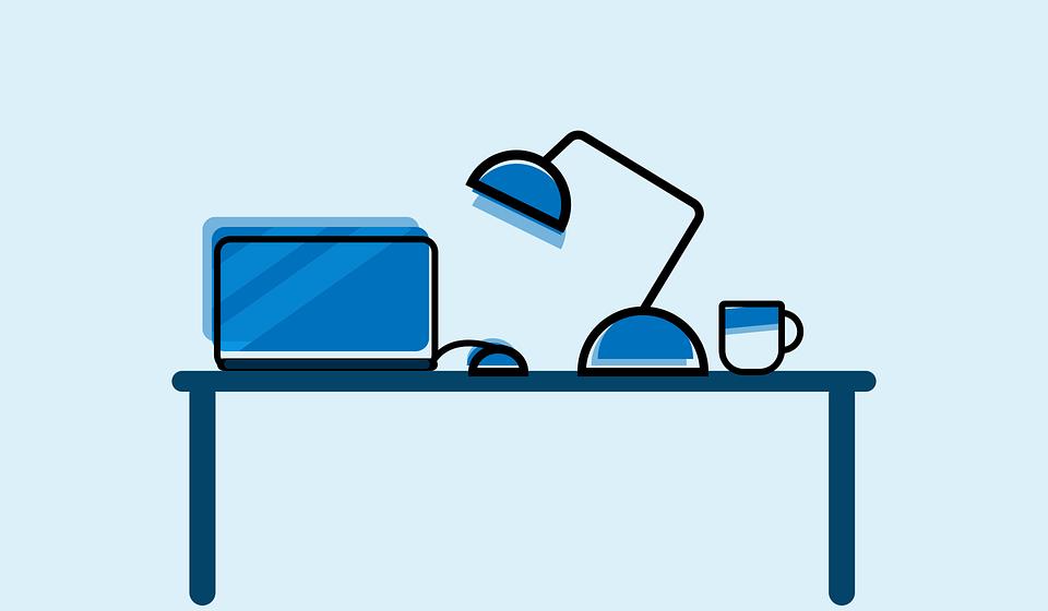 Schreibtisch büro clipart  Kostenlose Vektorgrafik: Büro, Schreibtisch, Becher, Tisch ...
