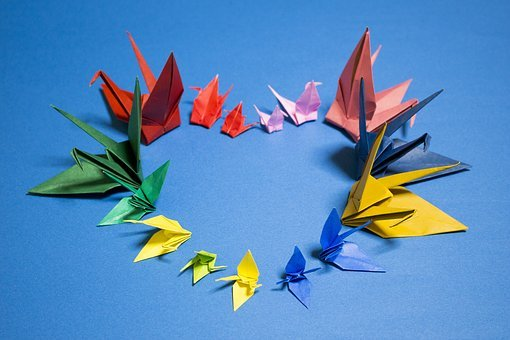 Origami Crane Japan Heart Love Please Hope