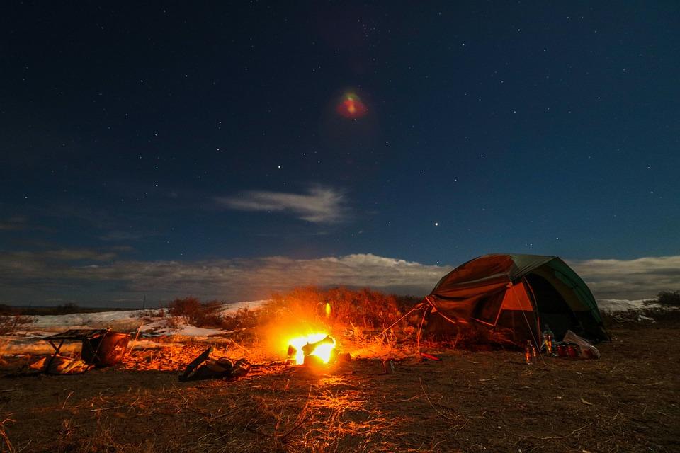 ライブ自然, 星空, たき火, テント, 休暇