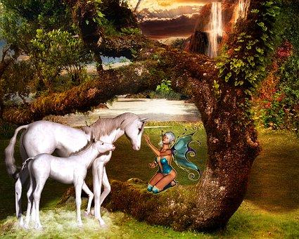 Fantasy Unicorn Fee Fairy Tales Mystical H
