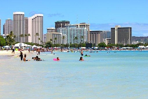 Playa, Edificios, Hoteles, Honolulu, Hawái
