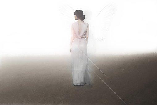 Angel, Femme, Lumière, Éclat, Dress