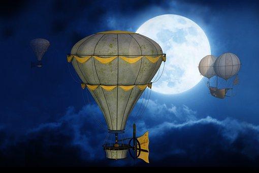 ムーン, 空, バルーン, ゴンドラ, 満月, 神秘的な, 夜, 気分