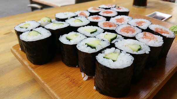 寿司, ディナー, 食品, テーブル