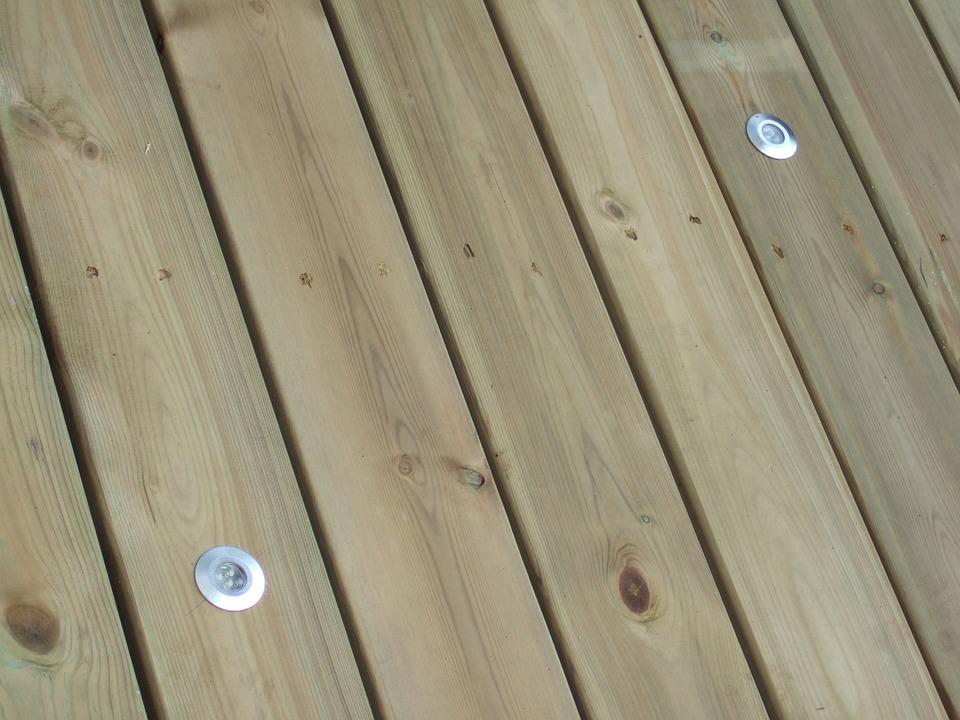 デッキ, 木材, ライト, 主導, ウッドデッキ, 板, ボード, デザイン, 屋外, パティオ, 自然