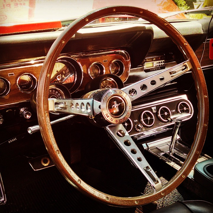 Classic Car Steering Wheel Mustang · Free photo on Pixabay
