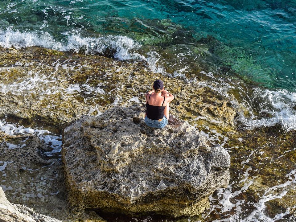 Aislamiento, Solo, Reflexivo, Mar, Ola, Niña