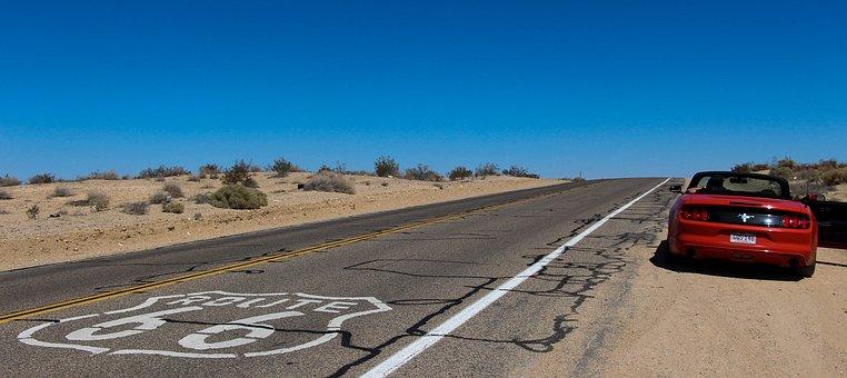 Cabriolet, Route 66, Désert, Route