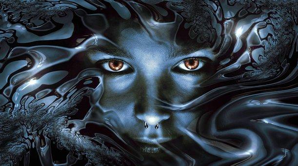 Face View Metallic Shiny Eyes Noble Head G
