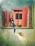 books, bookshelf, woman