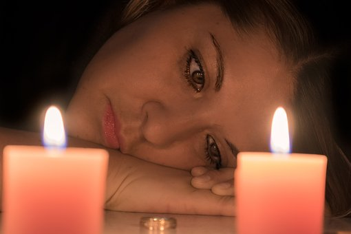 Woman Face, Divorce, Sadness, Candles
