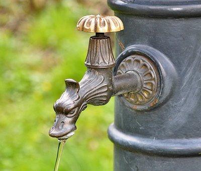 蛇口, よく, 水, 水道, 取水, の流れ, したたり