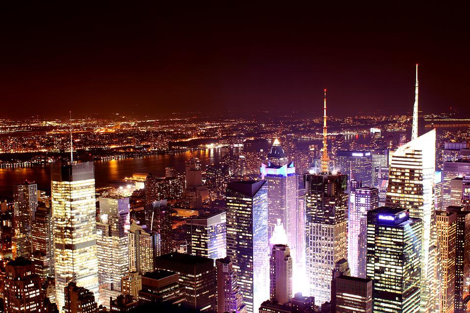 New York Skyline Night Long Exposure